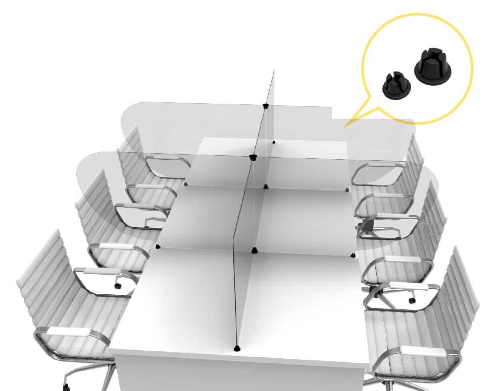protector de mostrador linea crux - Barreras sanitarias para mesas de reunión